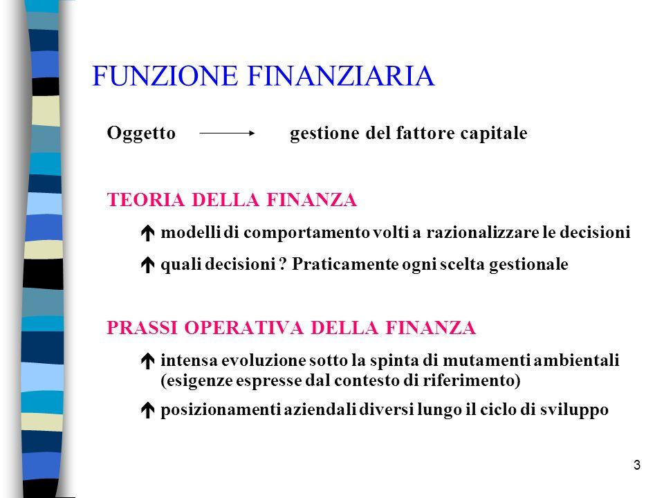 3 FUNZIONE FINANZIARIA Oggetto gestione del fattore capitale TEORIA DELLA FINANZA émodelli di comportamento volti a razionalizzare le decisioni équali decisioni .