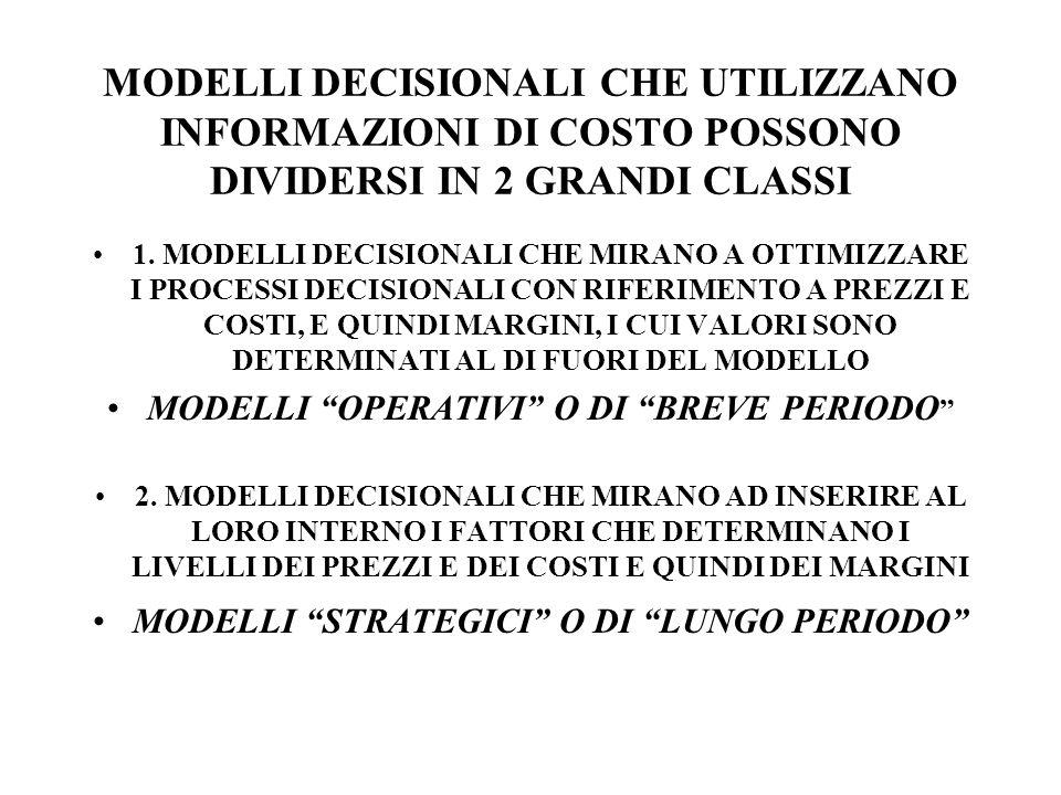 MODELLI DECISIONALI CHE UTILIZZANO INFORMAZIONI DI COSTO POSSONO DIVIDERSI IN 2 GRANDI CLASSI 1.