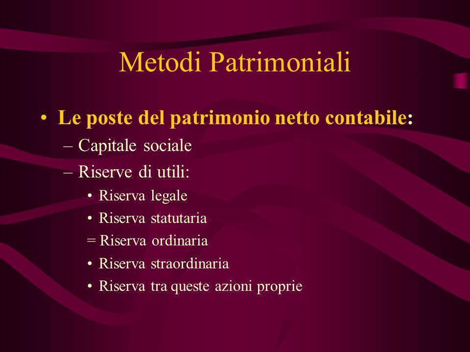 Metodi Patrimoniali Le poste del patrimonio netto contabile: –Capitale sociale –Riserve di utili: Riserva legale Riserva statutaria = Riserva ordinari