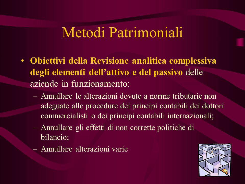 Metodi Patrimoniali Obiettivi della Revisione analitica complessiva degli elementi dellattivo e del passivo delle aziende in funzionamento: –Annullare