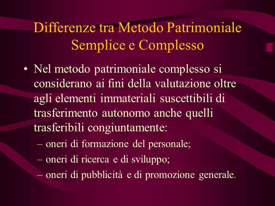 Differenze tra Metodo Patrimoniale Semplice e Complesso Nel metodo patrimoniale complesso si considerano ai fini della valutazione oltre agli elementi