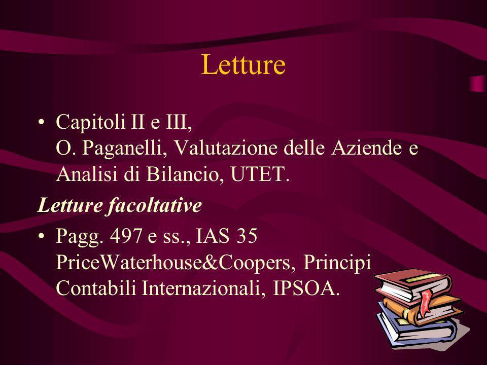 Letture Capitoli II e III, O. Paganelli, Valutazione delle Aziende e Analisi di Bilancio, UTET. Letture facoltative Pagg. 497 e ss., IAS 35 PriceWater