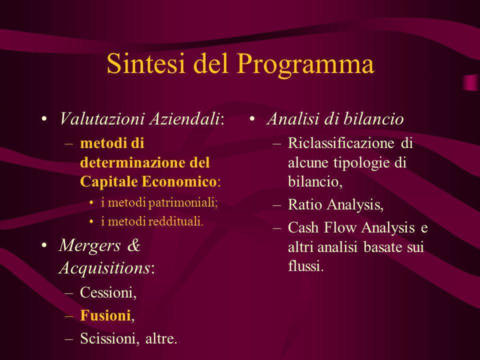 Sintesi del Programma Valutazioni Aziendali: –metodi di determinazione del Capitale Economico: i metodi patrimoniali; i metodi reddituali. Mergers & A