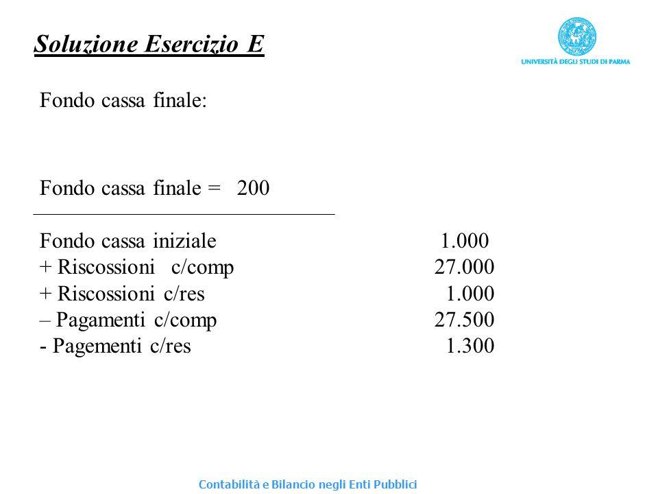 Soluzione Esercizio E Fondo cassa finale: Fondo cassa finale =200 Fondo cassa iniziale 1.000 + Riscossionic/comp27.000 + Riscossioni c/res 1.000 – Pag