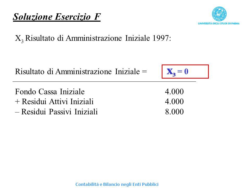 Soluzione Esercizio F X 3 Risultato di Amministrazione Iniziale 1997: Risultato di Amministrazione Iniziale = X 3 Fondo Cassa Iniziale4.000 + Residui