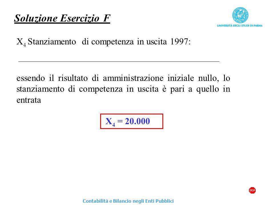 Soluzione Esercizio F X 4 Stanziamento di competenza in uscita 1997: essendo il risultato di amministrazione iniziale nullo, lo stanziamento di compet