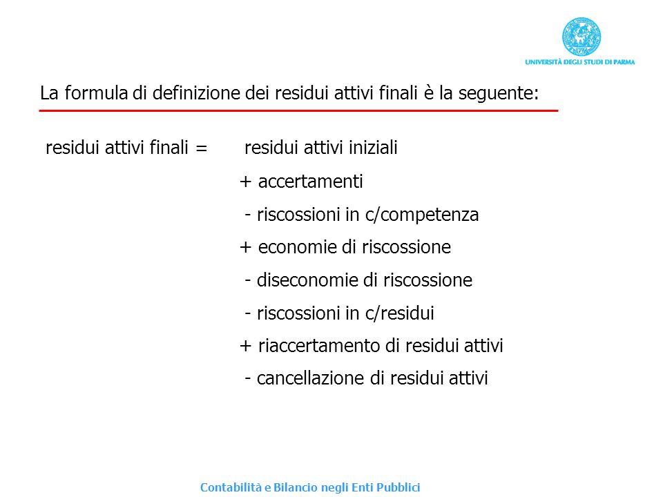 La formula di definizione dei residui attivi finali è la seguente: residui attivi finali = residui attivi iniziali + accertamenti - riscossioni in c/c