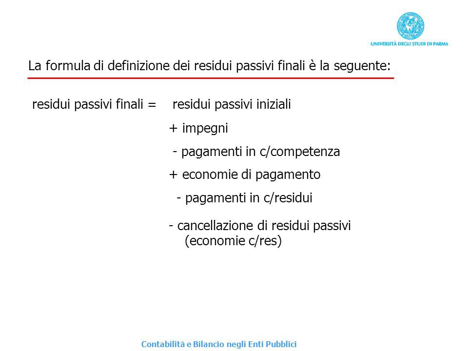 La formula di definizione dei residui passivi finali è la seguente: residui passivi finali = residui passivi iniziali + impegni - pagamenti in c/compe