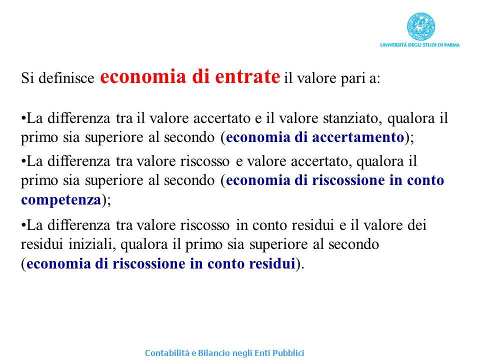 Si definisce diseconomia di entrate il valore pari a: La differenza tra il valore stanziato e il valore accertato, qualora il primo sia superiore al secondo (diseconomia di accertamento); La differenza tra valore accertato e valore riscosso a saldo, qualora il primo sia superiore al secondo (diseconomia di riscossione in conto competenza); La differenza tra valore rilevato nei residui iniziali e valore riscosso in conto residui a saldo, qualora il primo sia superiore al secondo (diseconomia di riscossione in conto residui).