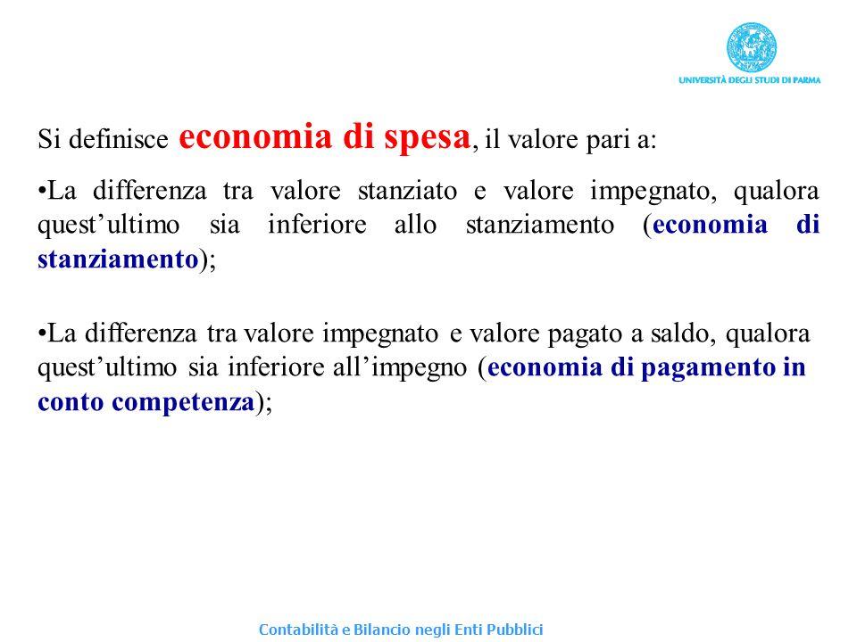 Si definisce economia di spesa, il valore pari a: La differenza tra valore stanziato e valore impegnato, qualora questultimo sia inferiore allo stanzi