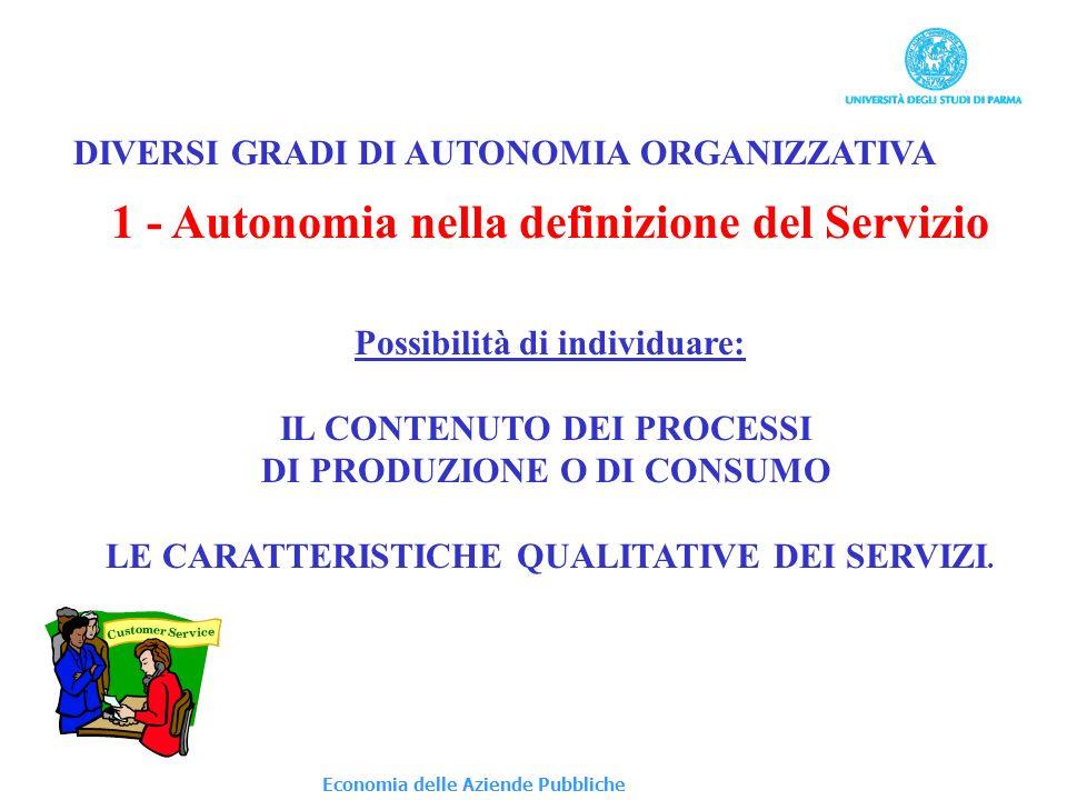 1 - Autonomia nella definizione del Servizio Possibilità di individuare: IL CONTENUTO DEI PROCESSI DI PRODUZIONE O DI CONSUMO LE CARATTERISTICHE QUALITATIVE DEI SERVIZI.
