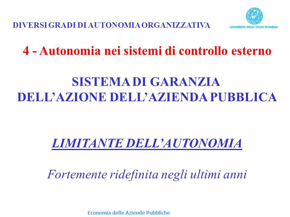 DIVERSI GRADI DI AUTONOMIA ORGANIZZATIVA 4 - Autonomia nei sistemi di controllo esterno SISTEMA DI GARANZIA DELLAZIONE DELLAZIENDA PUBBLICA LIMITANTE DELLAUTONOMIA Fortemente ridefinita negli ultimi anni Economia delle Aziende Pubbliche