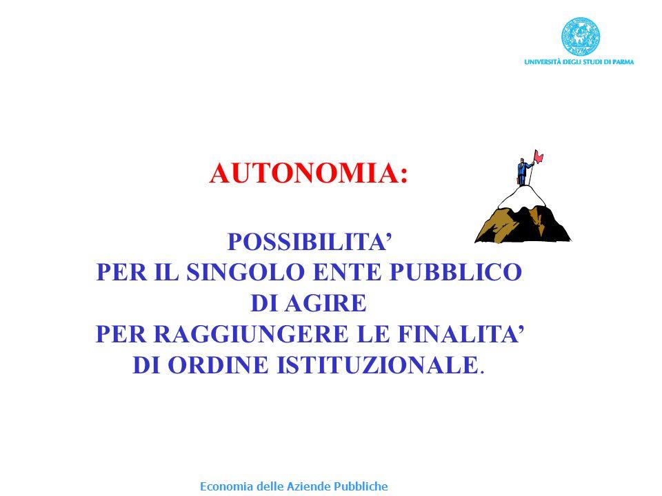 Economia delle Aziende Pubbliche AUTONOMIA: POSSIBILITA PER IL SINGOLO ENTE PUBBLICO DI AGIRE PER RAGGIUNGERE LE FINALITA DI ORDINE ISTITUZIONALE.