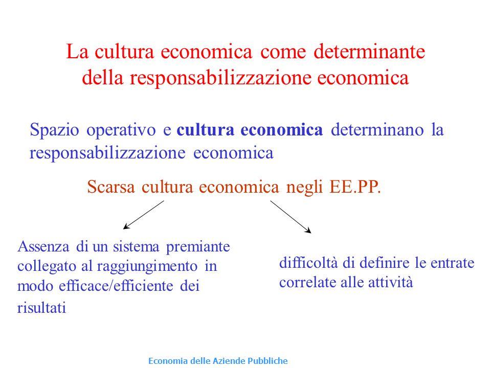 La cultura economica come determinante della responsabilizzazione economica Spazio operativo e cultura economica determinano la responsabilizzazione economica difficoltà di definire le entrate correlate alle attività Scarsa cultura economica negli EE.PP.