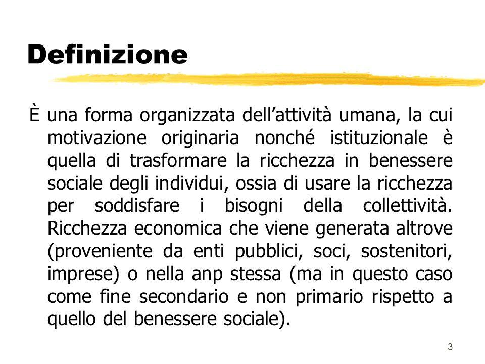 3 Definizione È una forma organizzata dellattività umana, la cui motivazione originaria nonché istituzionale è quella di trasformare la ricchezza in benessere sociale degli individui, ossia di usare la ricchezza per soddisfare i bisogni della collettività.