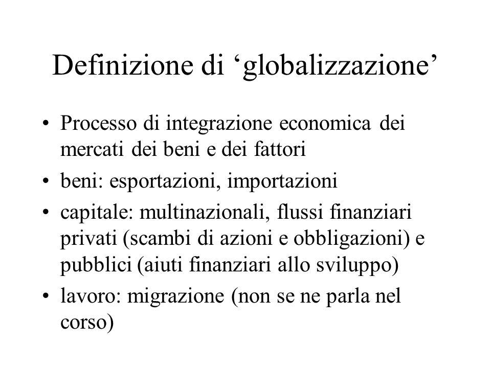 Definizione di globalizzazione Processo di integrazione economica dei mercati dei beni e dei fattori beni: esportazioni, importazioni capitale: multin