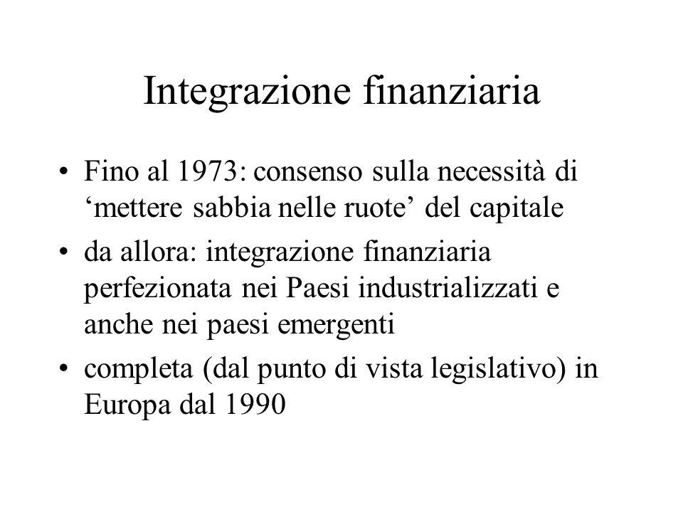 Integrazione finanziaria Fino al 1973: consenso sulla necessità di mettere sabbia nelle ruote del capitale da allora: integrazione finanziaria perfezi