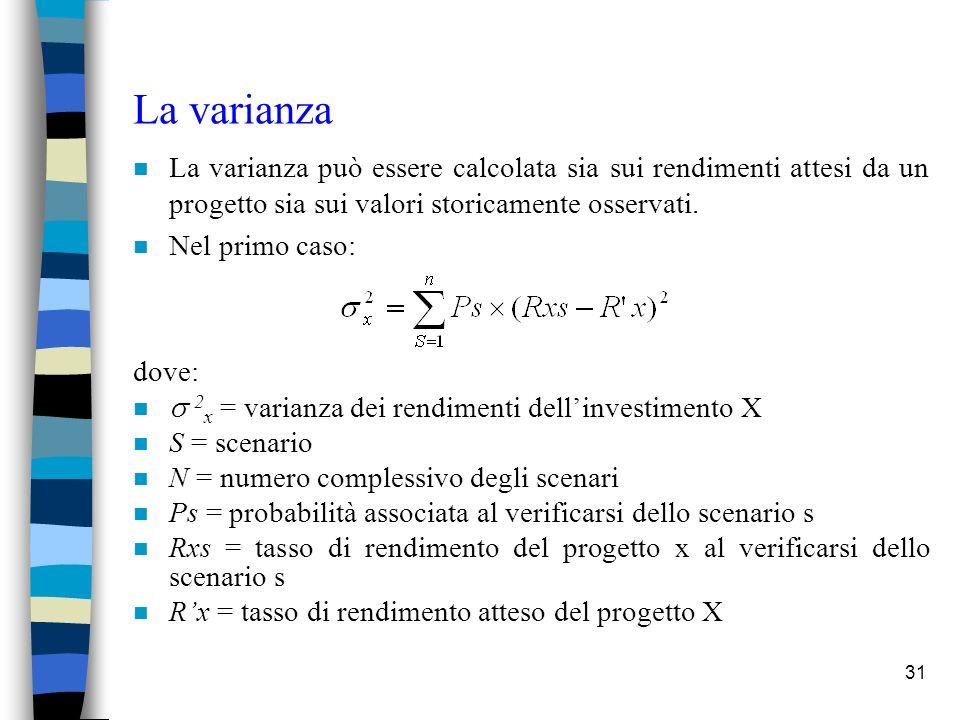 31 La varianza n La varianza può essere calcolata sia sui rendimenti attesi da un progetto sia sui valori storicamente osservati.