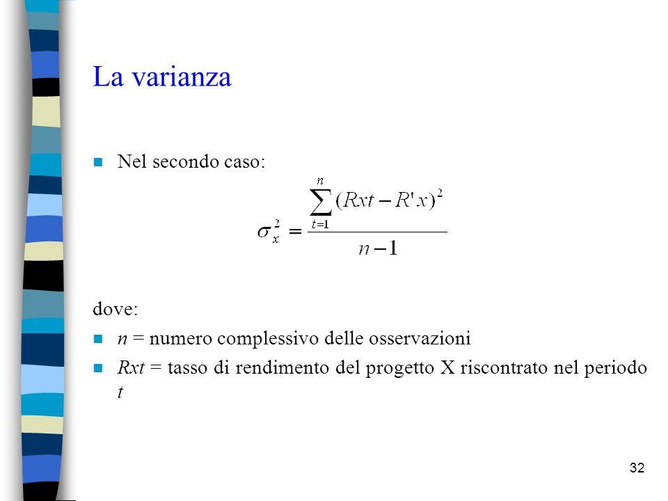 32 La varianza n Nel secondo caso: dove: n n = numero complessivo delle osservazioni n Rxt = tasso di rendimento del progetto X riscontrato nel periodo t