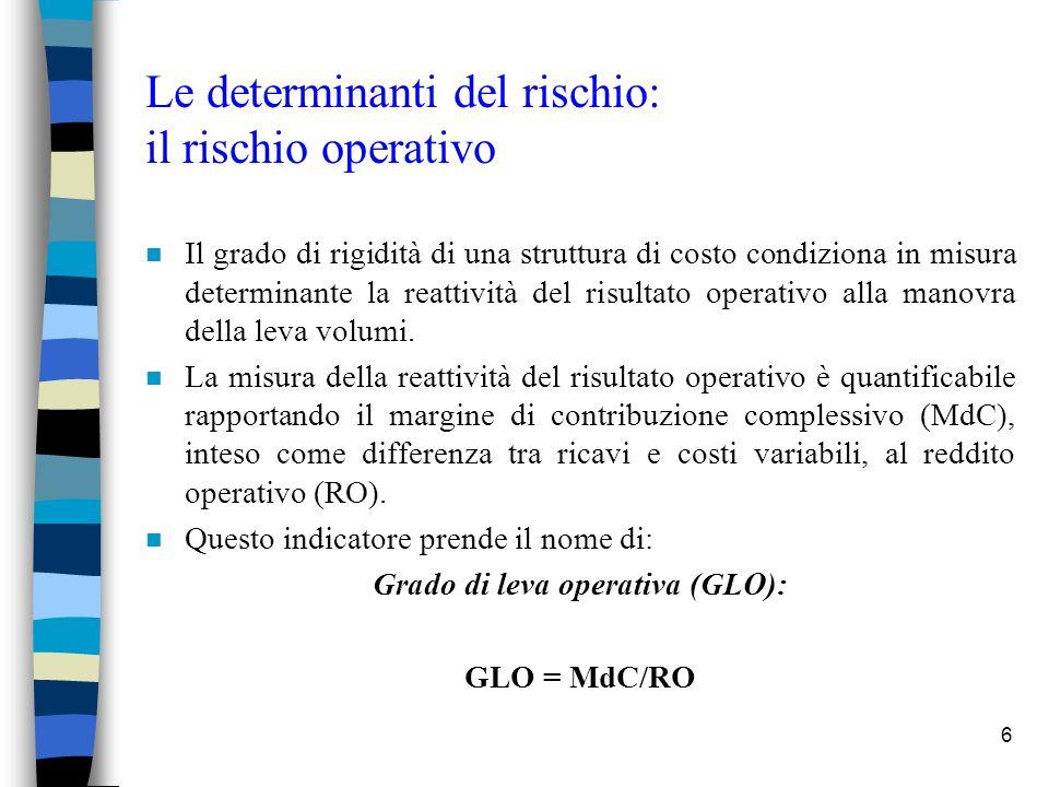 7 Le determinanti del rischio: il rischio operativo n Quando più rigida è la struttura di costo, tanto maggiore è il valore del moltiplicatore e dunque la variabilità dei risultati.