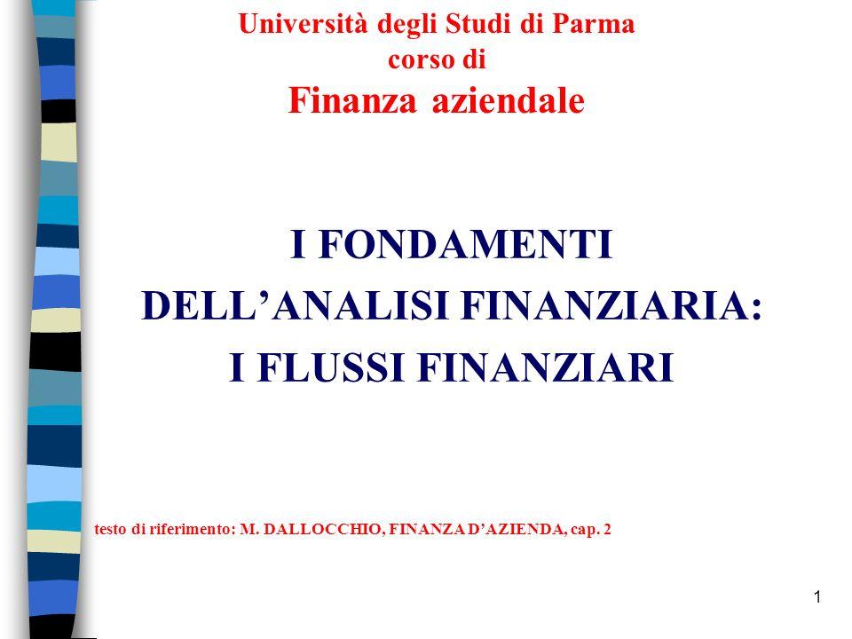 1 Università degli Studi di Parma corso di Finanza aziendale I FONDAMENTI DELLANALISI FINANZIARIA: I FLUSSI FINANZIARI testo di riferimento: M. DALLOC