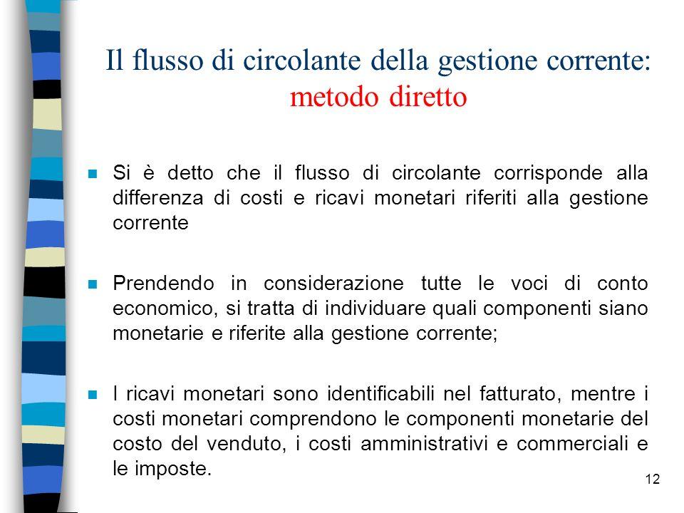 12 Il flusso di circolante della gestione corrente: metodo diretto n Si è detto che il flusso di circolante corrisponde alla differenza di costi e ric