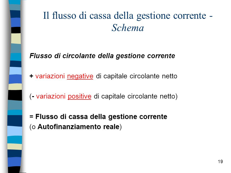 19 Il flusso di cassa della gestione corrente - Schema Flusso di circolante della gestione corrente + variazioni negative di capitale circolante netto