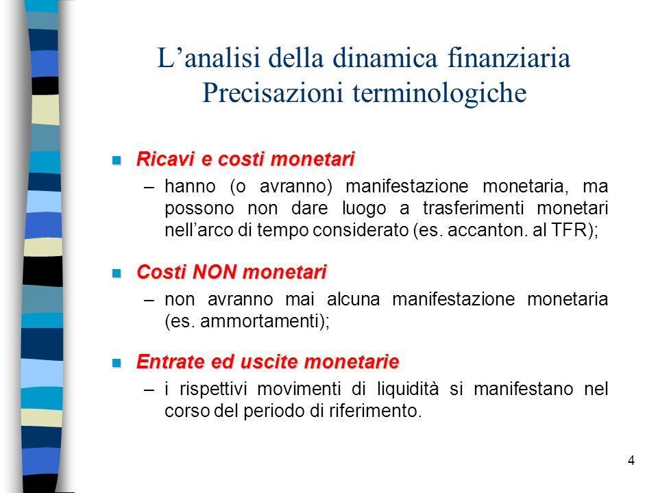 4 Lanalisi della dinamica finanziaria Precisazioni terminologiche n Ricavi e costi monetari –hanno (o avranno) manifestazione monetaria, ma possono no