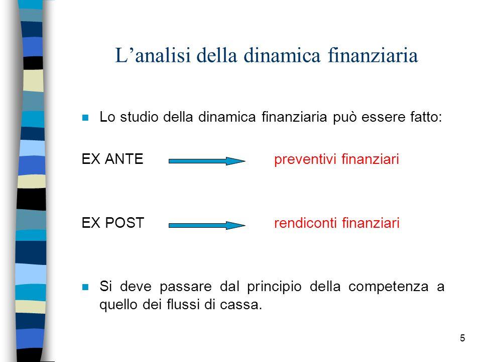 5 Lanalisi della dinamica finanziaria n Lo studio della dinamica finanziaria può essere fatto: EX ANTE preventivi finanziari EX POSTrendiconti finanzi