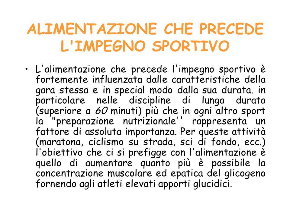 ALIMENTAZIONE CHE PRECEDE L'IMPEGNO SPORTIVO L'alimentazione che precede l'impegno sportivo è fortemente influenzata dalle caratteristiche della gara