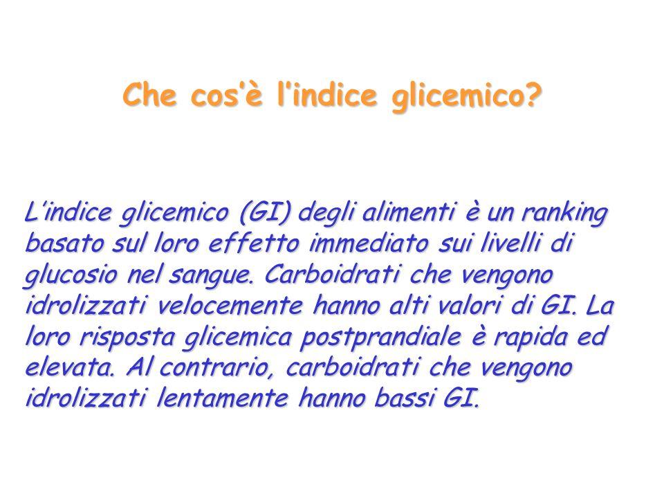 Che cosè lindice glicemico? Lindice glicemico (GI) degli alimenti è un ranking basato sul loro effetto immediato sui livelli di glucosio nel sangue. C