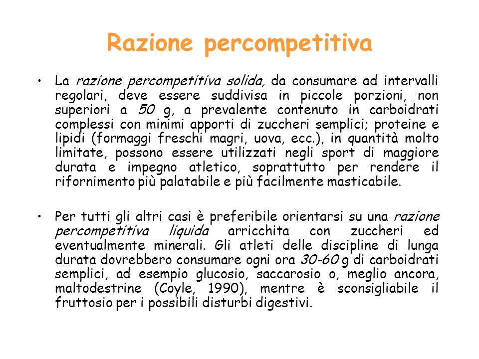 Razione percompetitiva La razione percompetitiva solida, da consumare ad intervalli regolari, deve essere suddivisa in piccole porzioni, non superiori