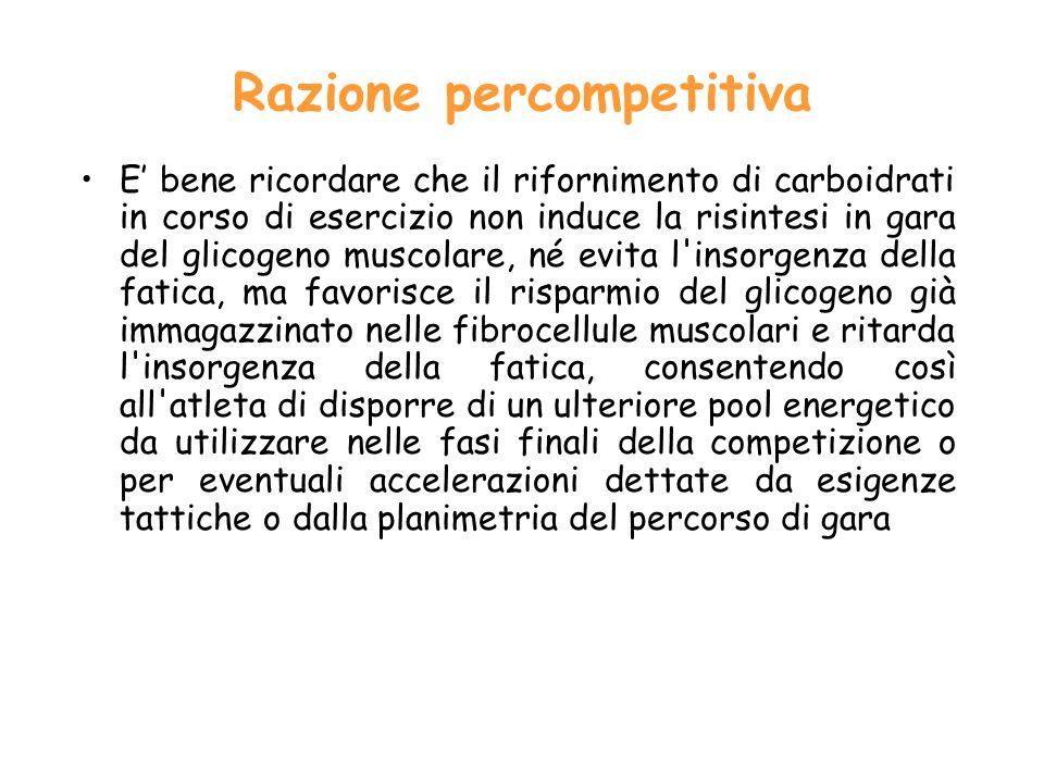 Razione percompetitiva E bene ricordare che il rifornimento di carboidrati in corso di esercizio non induce la risintesi in gara del glicogeno muscolare, né evita l insorgenza della fatica, ma favorisce il risparmio del glicogeno già immagazzinato nelle fibrocellule muscolari e ritarda l insorgenza della fatica, consentendo così all atleta di disporre di un ulteriore pool energetico da utilizzare nelle fasi finali della competizione o per eventuali accelerazioni dettate da esigenze tattiche o dalla planimetria del percorso di gara
