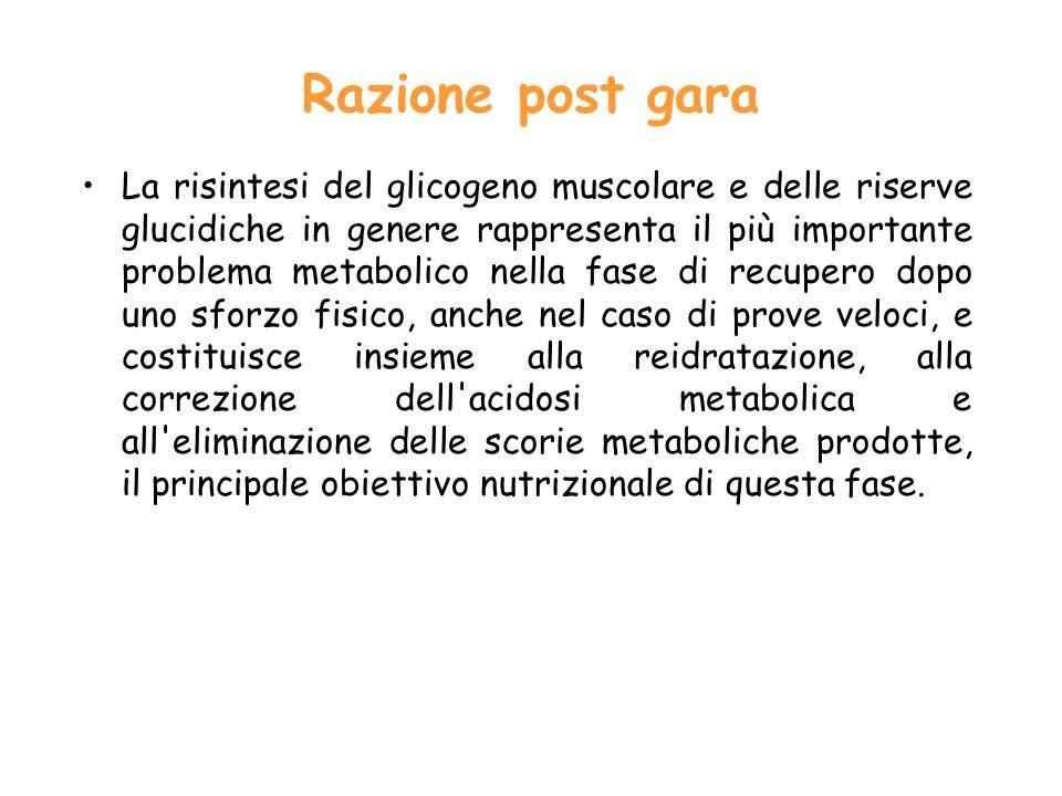 Razione post gara La risintesi del glicogeno muscolare e delle riserve glucidiche in genere rappresenta il più importante problema metabolico nella fa