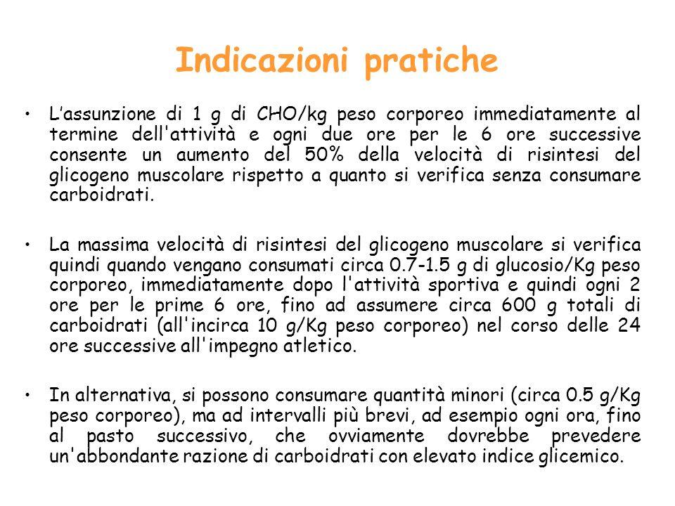 Indicazioni pratiche Lassunzione di 1 g di CHO/kg peso corporeo immediatamente al termine dell attività e ogni due ore per le 6 ore successive consente un aumento del 50% della velocità di risintesi del glicogeno muscolare rispetto a quanto si verifica senza consumare carboidrati.