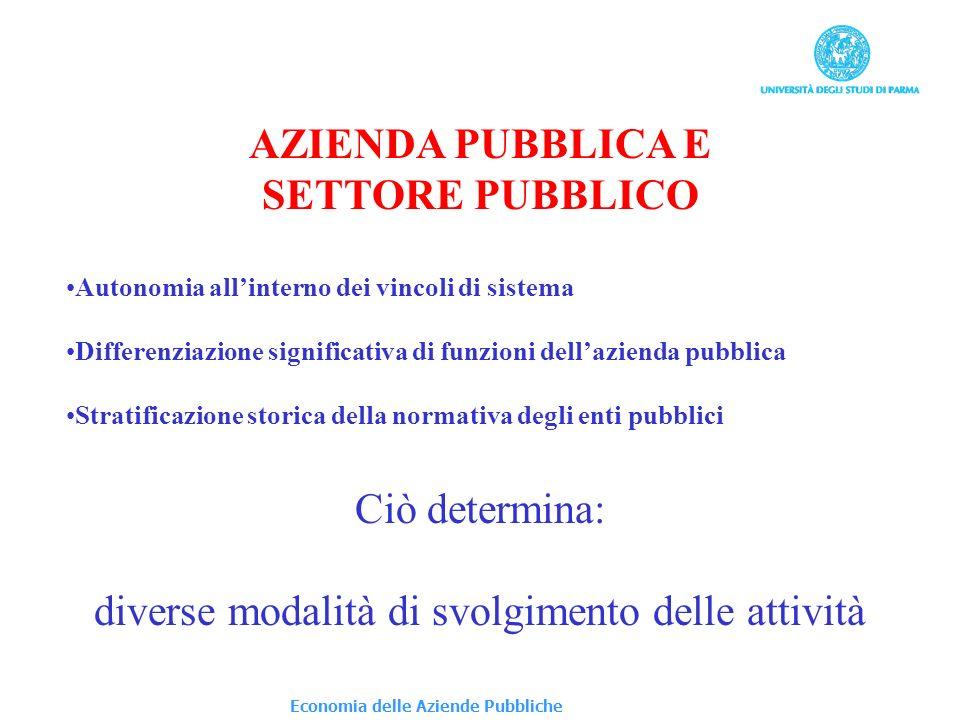 AZIENDA PUBBLICA E SETTORE PUBBLICO Autonomia allinterno dei vincoli di sistema Differenziazione significativa di funzioni dellazienda pubblica Strati