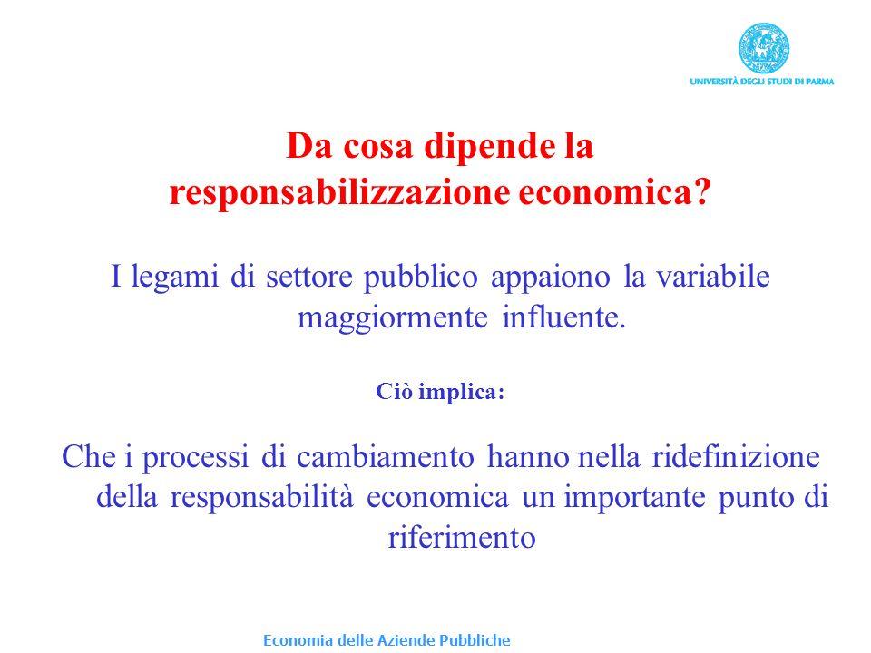 Da cosa dipende la responsabilizzazione economica? I legami di settore pubblico appaiono la variabile maggiormente influente. Ciò implica: Che i proce