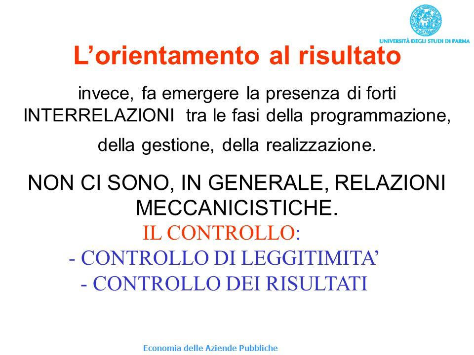 Lorientamento al risultato invece, fa emergere la presenza di forti INTERRELAZIONI tra le fasi della programmazione, della gestione, della realizzazio