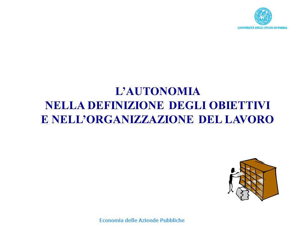 Economia delle Aziende Pubbliche LAUTONOMIA NELLA DEFINIZIONE DEGLI OBIETTIVI E NELLORGANIZZAZIONE DEL LAVORO