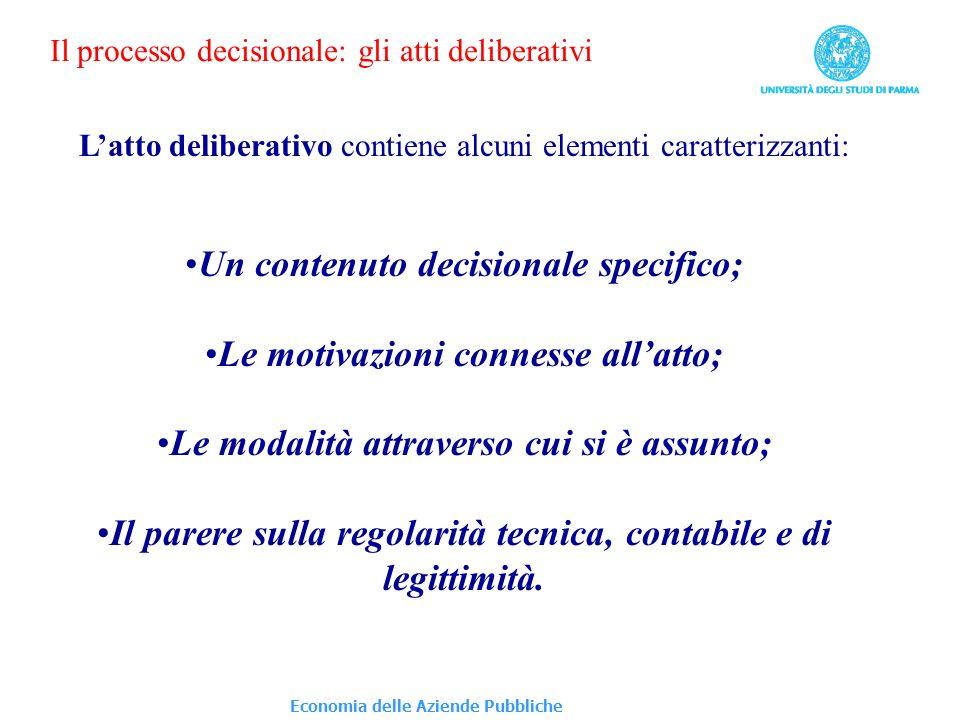 Economia delle Aziende Pubbliche Il processo decisionale: gli atti deliberativi Latto deliberativo contiene alcuni elementi caratterizzanti: Un conten