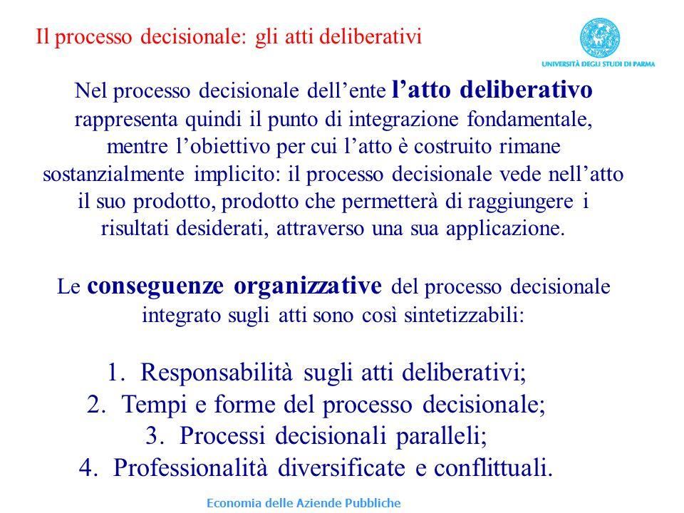 Economia delle Aziende Pubbliche Il processo decisionale: gli atti deliberativi Nel processo decisionale dellente latto deliberativo rappresenta quind