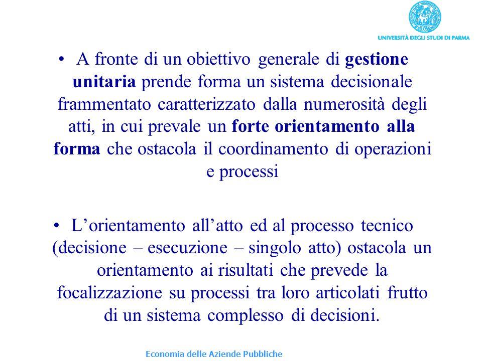 A fronte di un obiettivo generale di gestione unitaria prende forma un sistema decisionale frammentato caratterizzato dalla numerosità degli atti, in