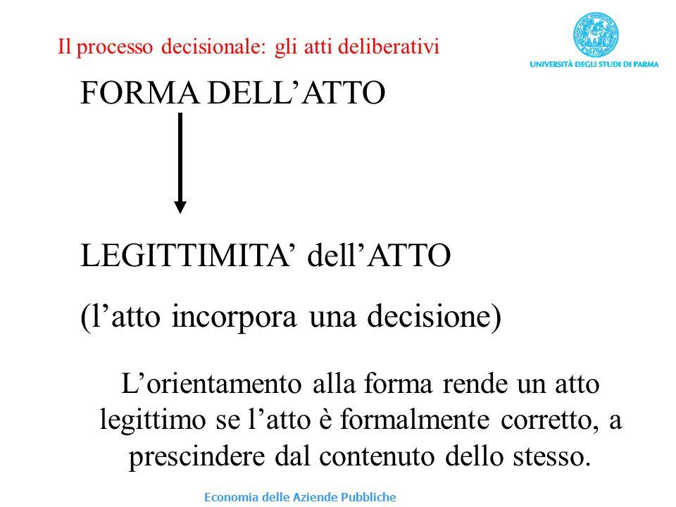 FORMA DELLATTO LEGITTIMITA dellATTO (latto incorpora una decisione) Il processo decisionale: gli atti deliberativi Lorientamento alla forma rende un a