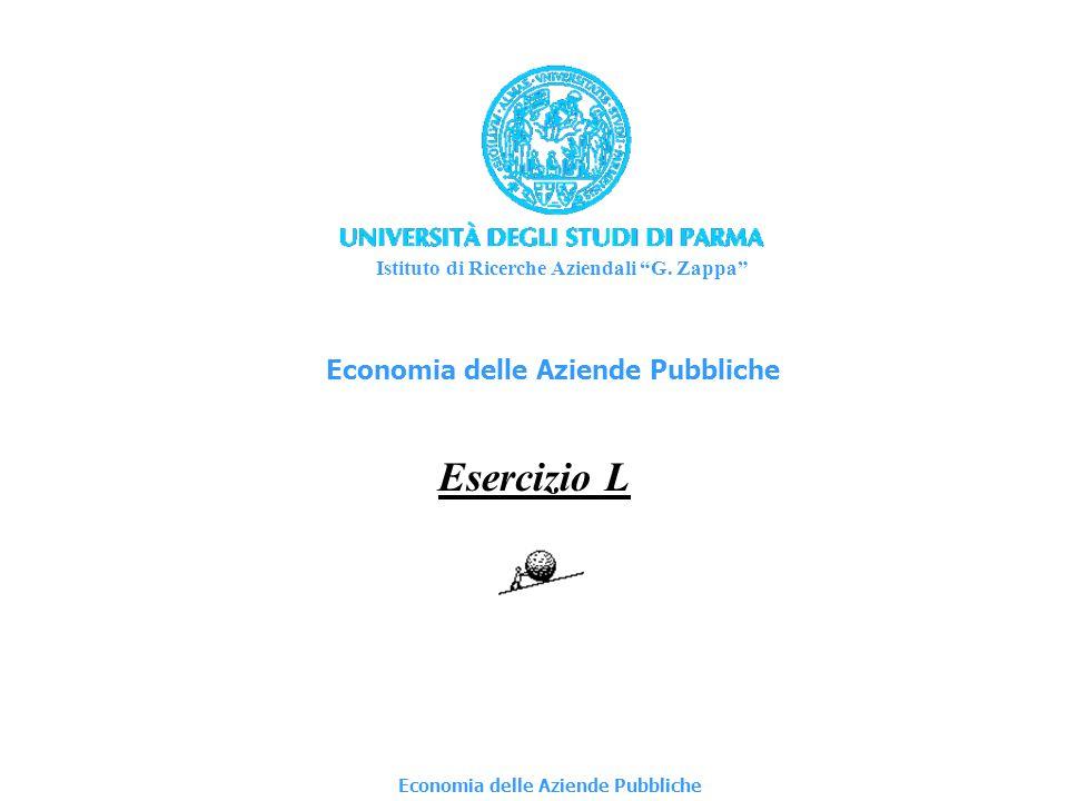 Economia delle Aziende Pubbliche Esercizio L Istituto di Ricerche Aziendali G.
