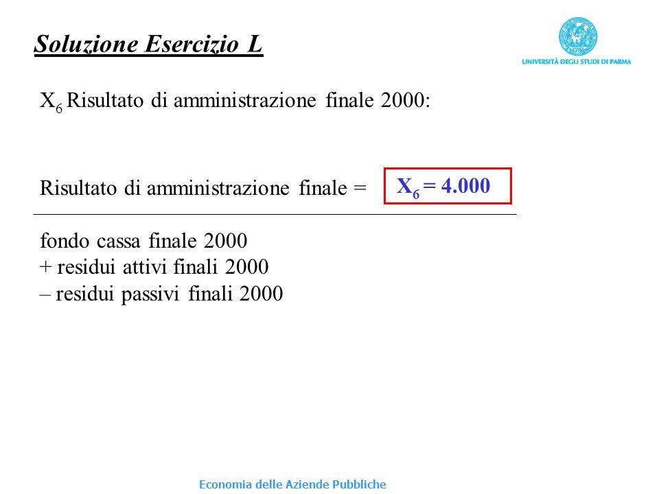 Economia delle Aziende Pubbliche Soluzione Esercizio L X 6 Risultato di amministrazione finale 2000: Risultato di amministrazione finale = fondo cassa finale 2000 + residui attivi finali 2000 – residui passivi finali 2000 X 6 = 4.000