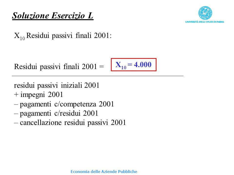 Economia delle Aziende Pubbliche Soluzione Esercizio L X 10 Residui passivi finali 2001: Residui passivi finali 2001 = residui passivi iniziali 2001 +
