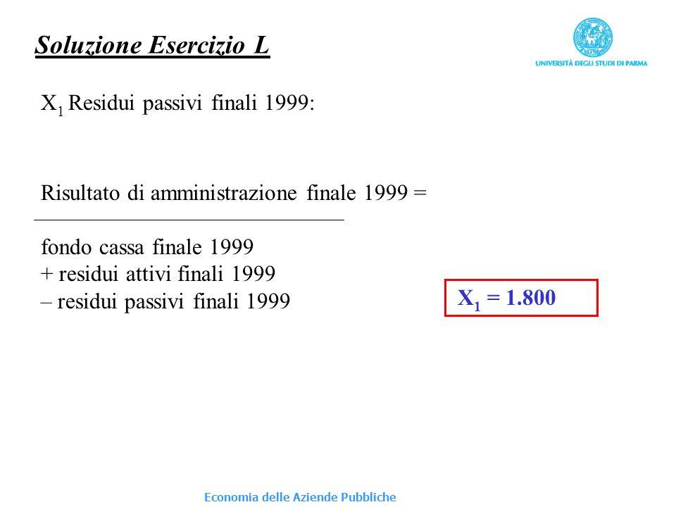 Economia delle Aziende Pubbliche Soluzione Esercizio L X 1 Residui passivi finali 1999: Risultato di amministrazione finale 1999 = fondo cassa finale 1999 + residui attivi finali 1999 – residui passivi finali 1999 X 1 = 1.800