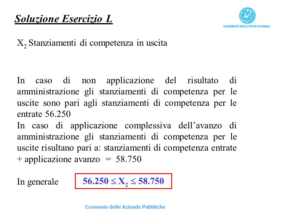 Economia delle Aziende Pubbliche Soluzione Esercizio L X 2 Stanziamenti di competenza in uscita In caso di non applicazione del risultato di amministr