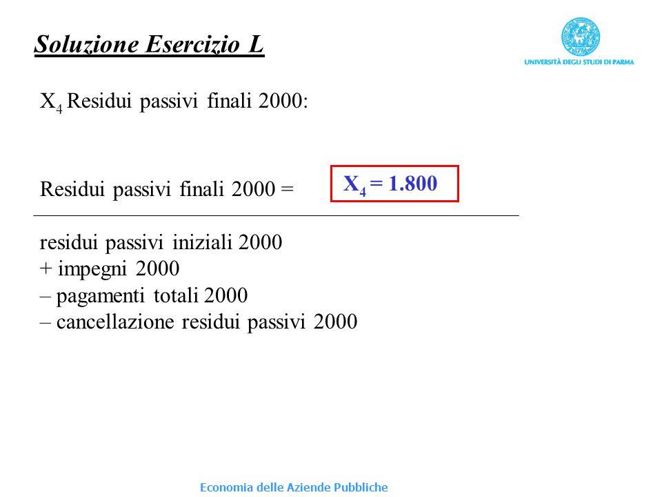 Economia delle Aziende Pubbliche Soluzione Esercizio L X 5 Fondo cassa finale 2000: Fondo cassa finale 2000 = fondo cassa iniziale 2000 + riscossioni totali 2000 – pagamenti totali 2000 X 5 = 3.300