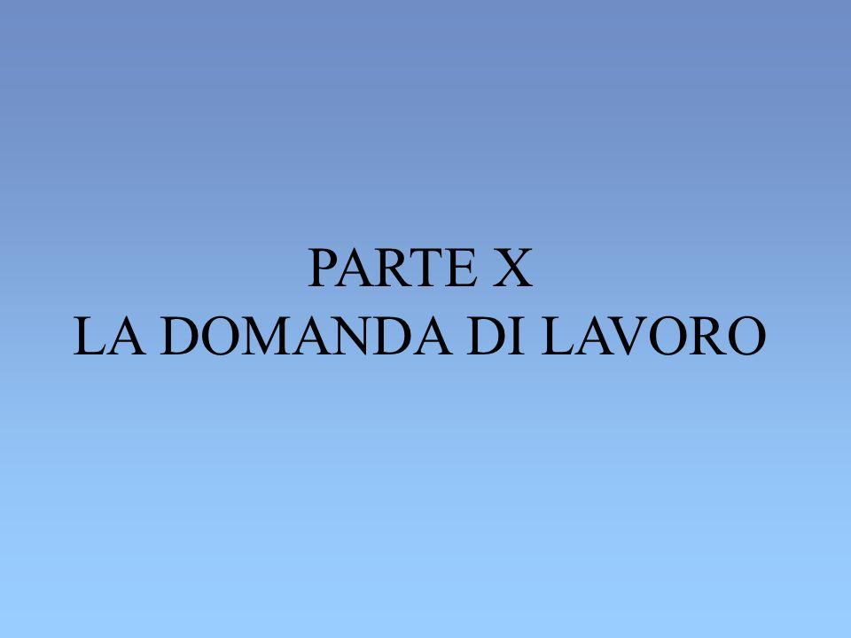 PARTE X LA DOMANDA DI LAVORO